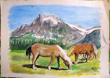 Acquerello '900 su carta Watercolor-CAVALLI al pascolo in montagna-anonimo (101)
