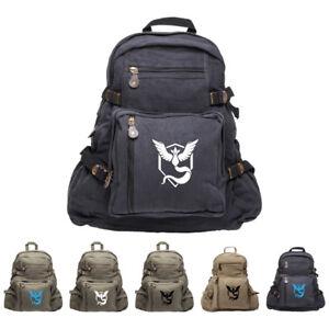 640b2c4847f1 Image is loading Pokemon-Go-TEAM-MYSTIC-Articuno-Canvas-Backpack-Bookbag-
