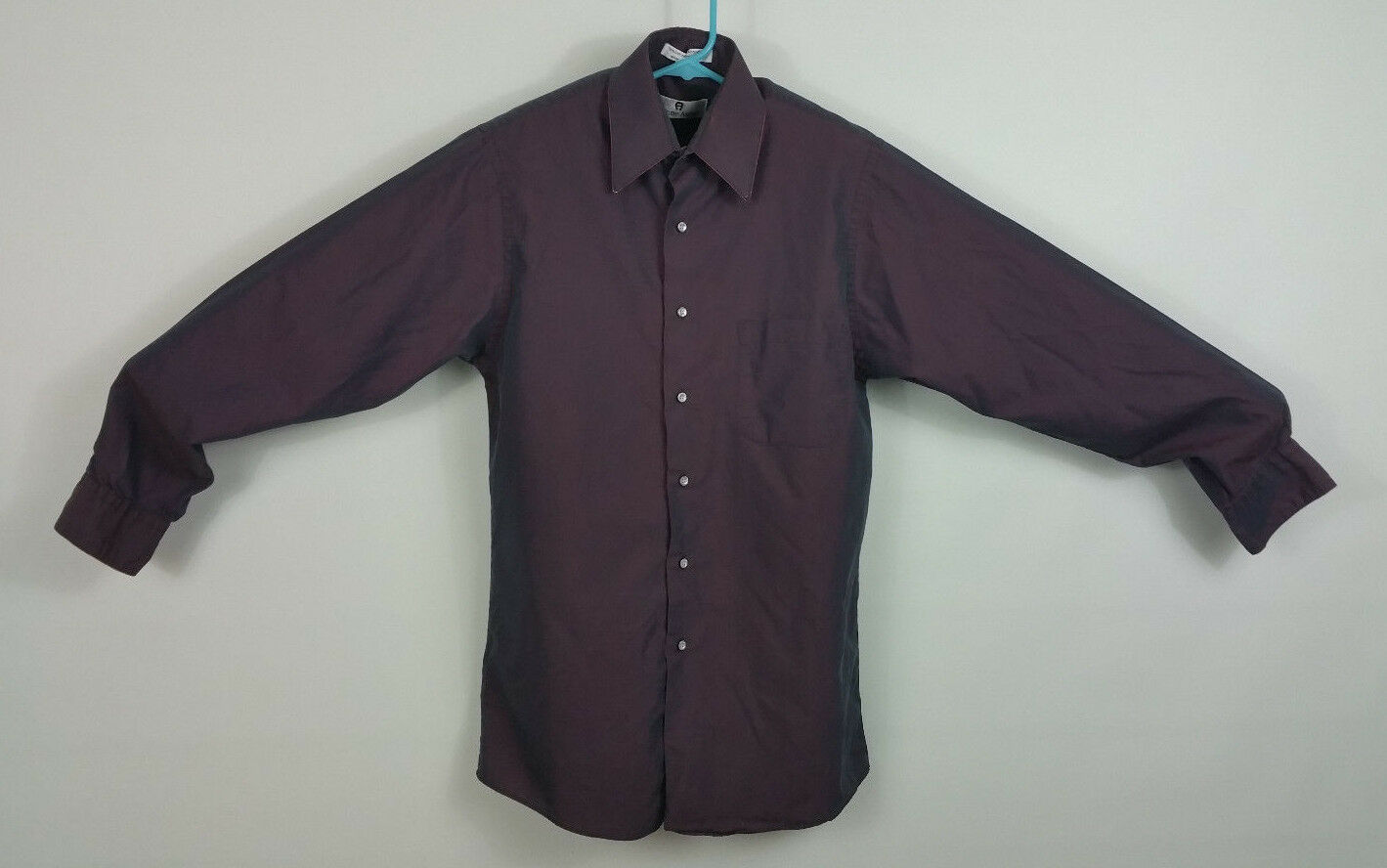 Etienne Aigner wine red gabardine size 15 long sleeve shirt with flaw see pics