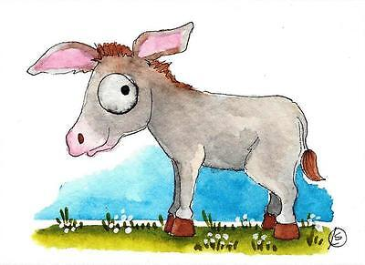 ACEO Original watercolor painting whimsical animal Donkey in the field