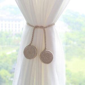 Image Is Loading 1 Pair Rope Curtain Tiebacks Magnetic Tie Back