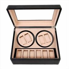 Felji 4+6 Automatic Rotation Leather Wood Watch Winder Storage Display Case Box