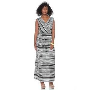 94e21a9f95 Womens Apt.9 Black White Brown Maxi Dress Spring Sleeveless Sz M NWT ...