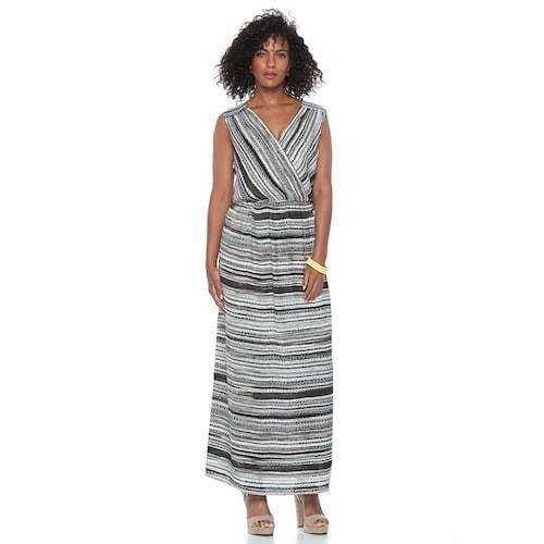Womens Apt9 Black White Brown Maxi Dress Spring Sleeveless Sz M Nwt