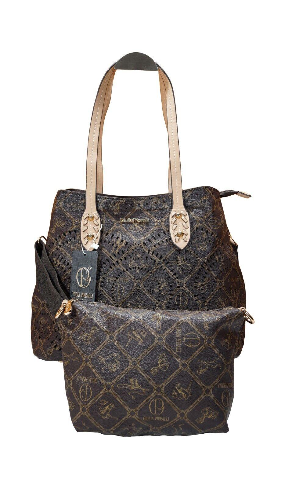 Damen Taschen Frauen 2er Set Giulia Pieralli Handtasche Messenger Messenger Messenger Bag Braun    Exquisite (mittlere) Verarbeitung    Günstig    Sehr gute Farbe  99dc00