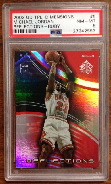 Michael Jordan UD Ruby Reflections Refractor Card #5 482/500 2003 PSA NM/MT RARE