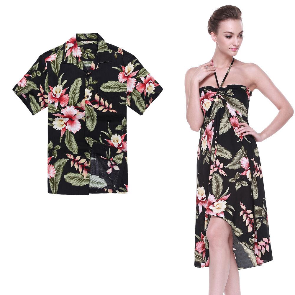 Couple Matching Shirt Dress Set Hawaiian Cruise Aloha Wedding Black Rafelsia
