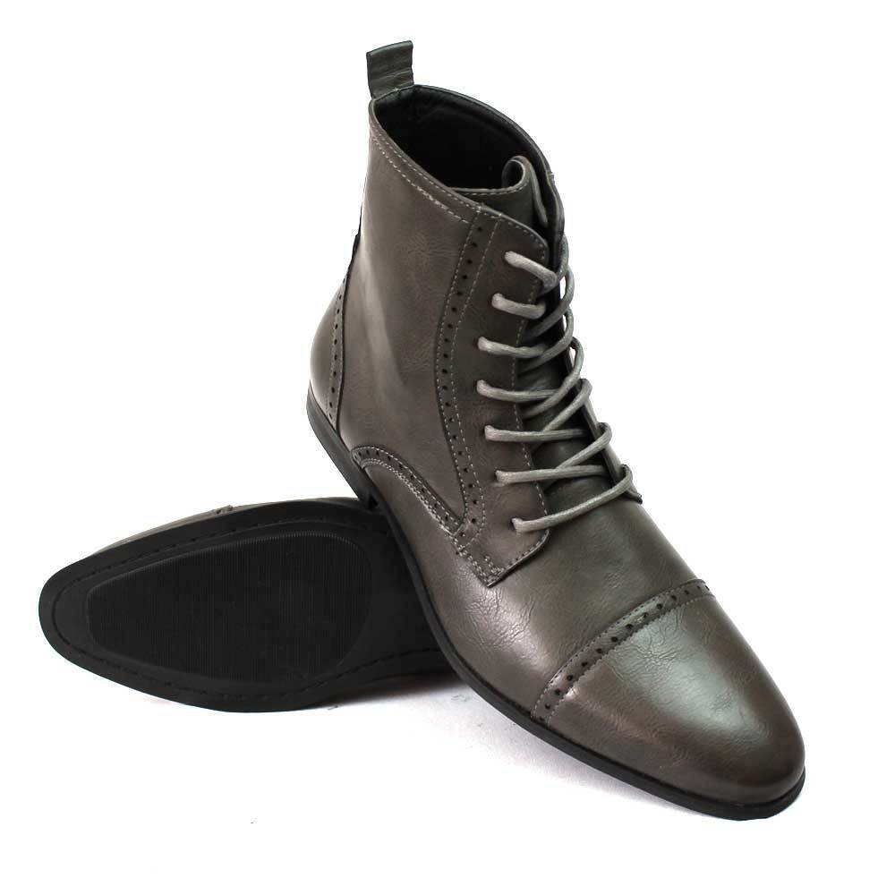 New Men's Grey Cap Toe Boots Detailed Perforation Dress Shoes Oxfords By Azar