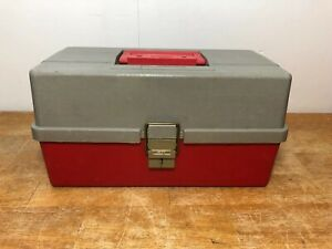 Vintage-Plano-411-Tackle-Box-Red-amp-Grey-W-Tray