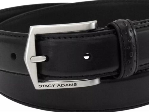 NEW WITH TAGS!! STACY ADAMS MEN/'S PINSEAL LEATHER  BELT,BLACK