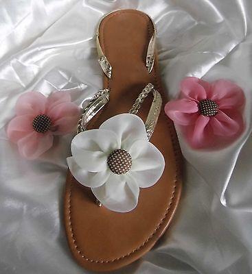 2 clips de Flores con botón centro para Flipflops/Sandalias Y Zapatos