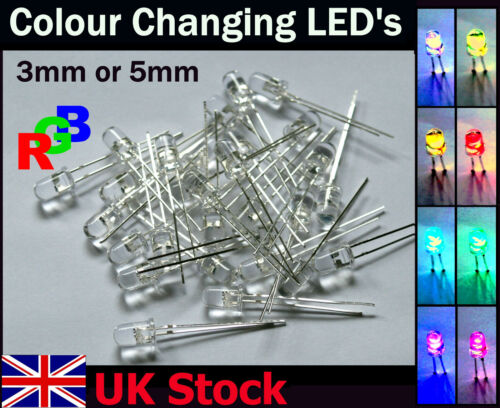 25PACK ARCOBALENO LED 3mm 5mm lenta evoluzione ciclo RGB LED mulitcolour-UK STOCK