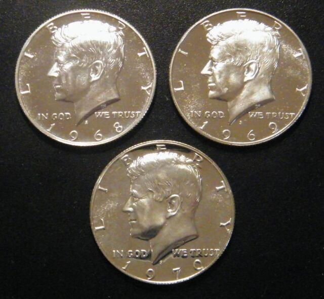 1968 S 1969 S 1970 S Kennedy Proof Half Dollar Run 3 Coin Set 40% Silver US