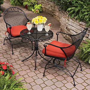 Patio furniture set red 3 piece outdoor bistro table chair for Red metal patio furniture