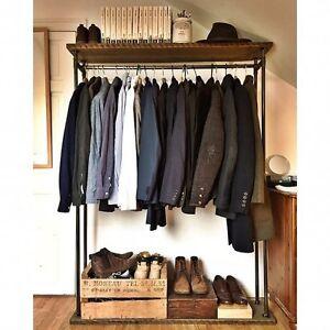 Avon-Industrial-Style-Wooden-Metal-Clothes-Rail-Storage-Urban-Retro-Vintage