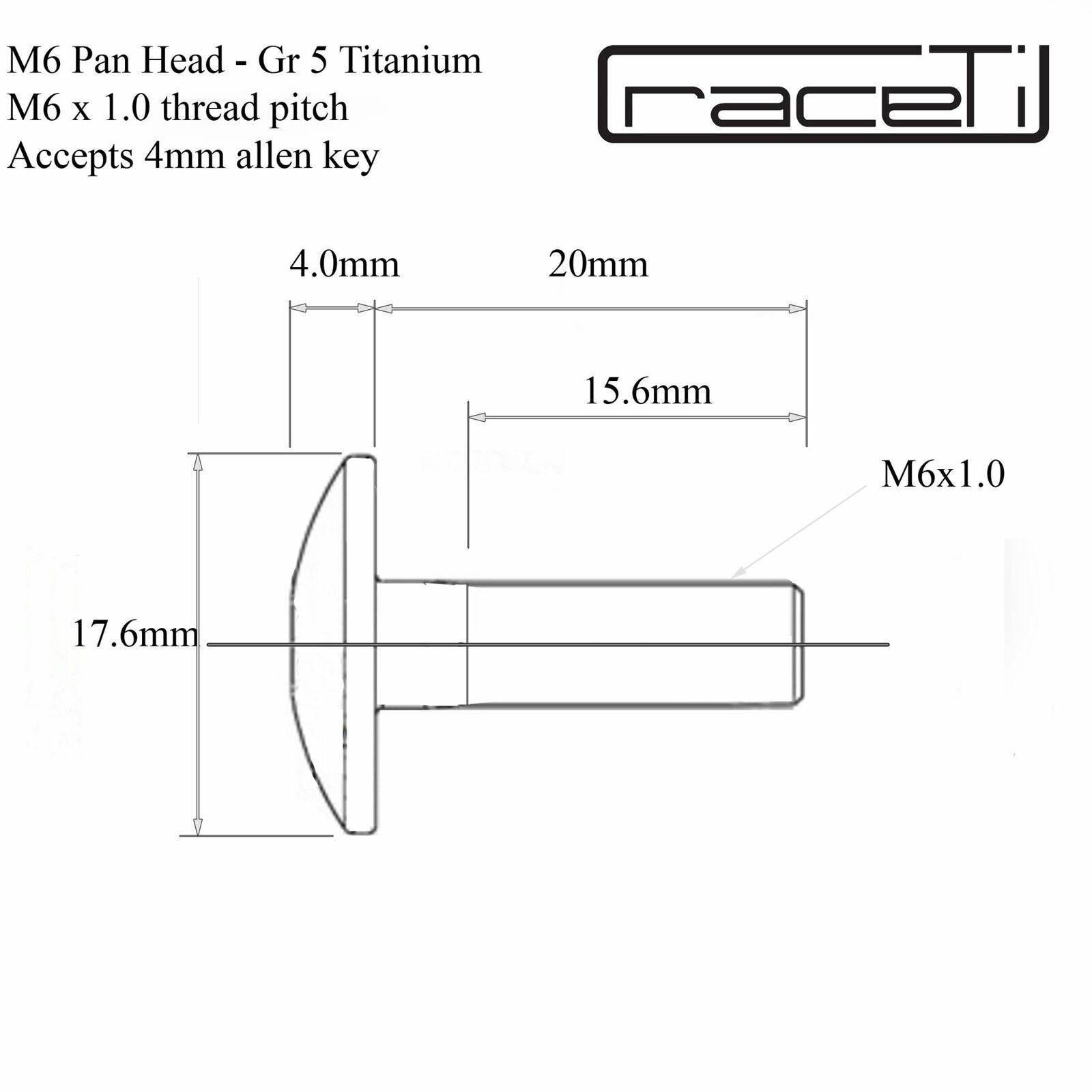 M6 titane PAN vis à tête 20 x 1.0 CNC gr5 Ti 6Al-4V Ultralight 20 mm x 1.0 mm