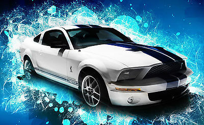Picture Poster Art Ford Mustang Shelby GT500 Knight Rider Style Framed Print