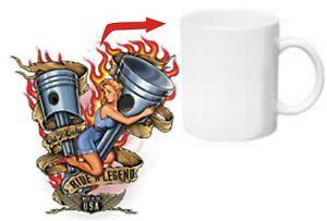Ride A Legend Piston Babe Pin-up Kaffee Tasse Mug Rockabilly Nose Art US Army