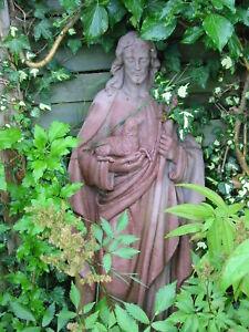 Heilige Barbara Skulptur Figur Antik Look Kunst Sandstein Steinguß V 01 ROT