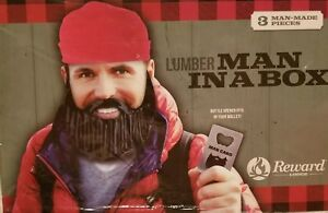 adf76f0ed8d Details about Lumber Jack Man in a box Man Card bottle opener lumber Jack  beard and hat set