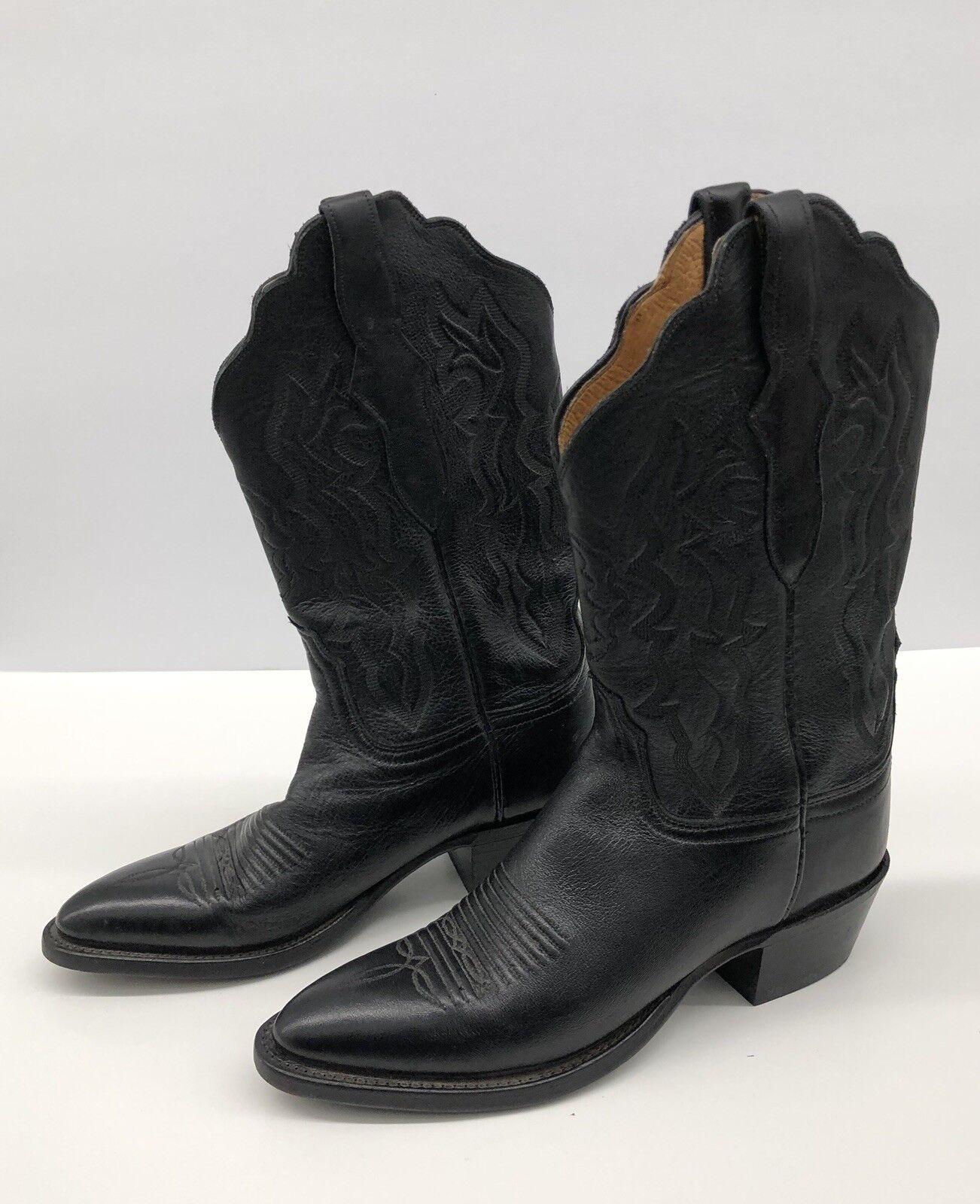 Lucchese piel de becerro occidental de Cuero Cuero Cuero Negro botas vaqueras puntiagudo para mujer Talla 6.5 7ca763