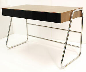 Alphason-Juo-Chrome-Steel-Framed-amp-Walnut-Effect-Designer-Computer-Desk