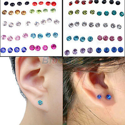 20 PAIRS WOMENS ALLERGY EAR STUDS CRYSTAL RHINESTONE EARRINGS MULTICOLOR CLEAR