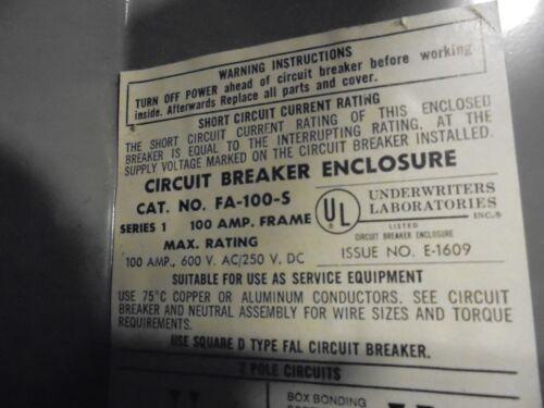 Series 1 Square D FA100S FAL Circuit Breaker Enclosure EN44