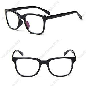 2fd9e3aa9f5 Image is loading Trendy-Eyeglasses-Clear-Lens-Plastic-Large-Frames-Use-