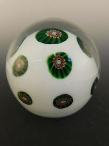 "ITALIAN WHITE GREEN CASED ART GLASS PAPERWEIGHT CUT TO CLEAR MILLEFIORI 3"" TALL"