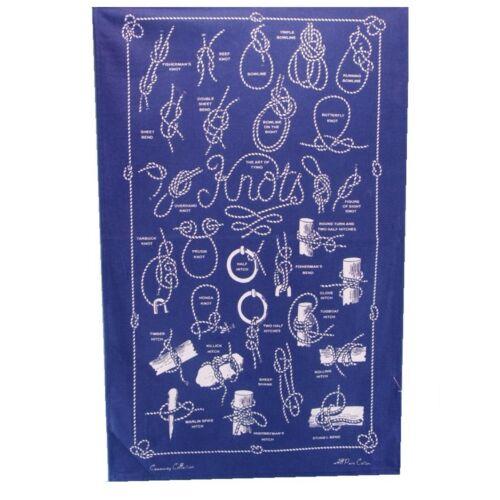 Bleu Marine Bleu Nautique Thé Serviette//cuisine chiffon avec noeuds 100/% coton-Rapide Post