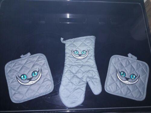 Details about  /Embroidered Alice in wonderland Cheshire cat Kitchen Towel Set grey