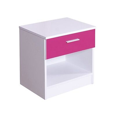 Ottowa Pink Gloss & White 1 drawer bed side cabinet drawers chest