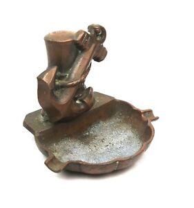 Antique-Copper-Brass-Ashtray-Copper-Anchor-Figural-Navy-Maritime