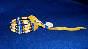 Bracelet Bone Hairpipe Brass & Royal Blue Glass beads on Leather Iroquois