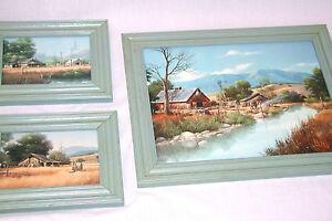 Set-3-Prints-Greg-Kaplan-Landscape-Countryside-Wood-Frame-Gray-Blue-New