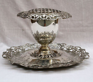 "MAGNIFICENT 19c  GORHAM 3P SET STERLING SILVER CENTER PIECE FILOWER POT "" 88 Oz"