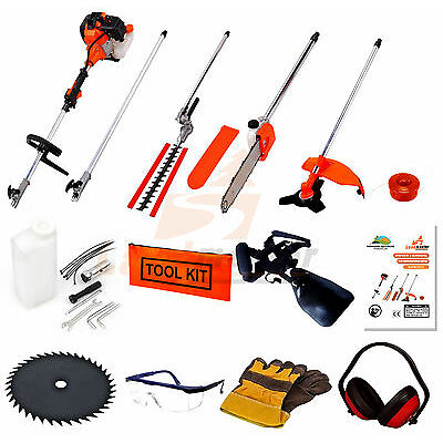 Multi Function Garden Tool 52cc Petrol Strimmer, Hedge Trimmer, Chainsaw & Pole