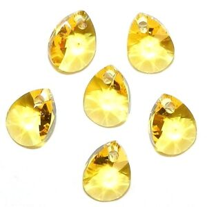 eb3c3a1128093 Details about SCKX185 Light Topaz Yellow 8mm Faceted Teardrop Pear  Swarovski Crystal Beads 6pc