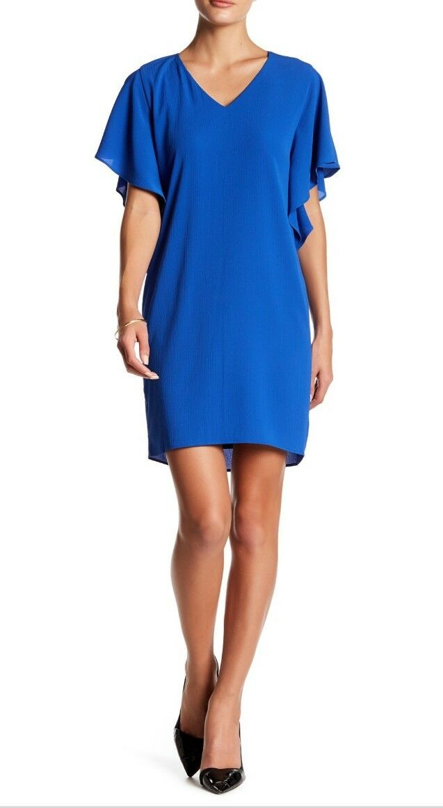 3 DAY SALE NWT  Eliza J Crepe Split Dolman Shift Dress Royal bluee Size 2