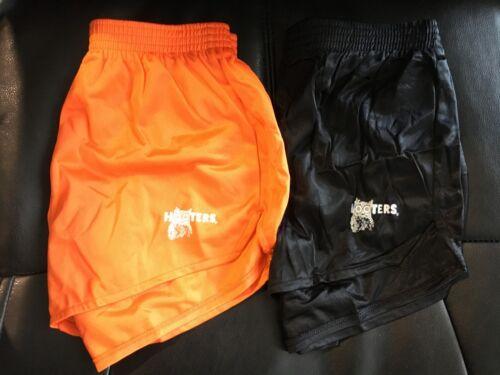 New Hooters Owl Logo Original Authentic Uniform Nylon Shorts Black/Orange