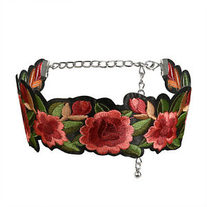 797aee2655506 Women's Retro Rose Flower Embroidery Short Choker Tattoo Necklace ...