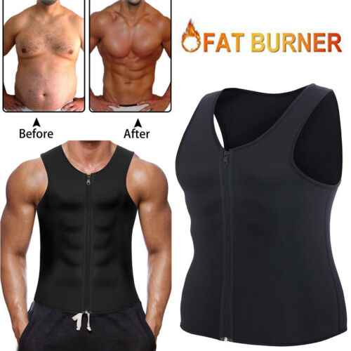 Men Body Shaper Gym Neoprene Vest Sauna Ultra Hot Sweat Shirt Slimming Corset AU