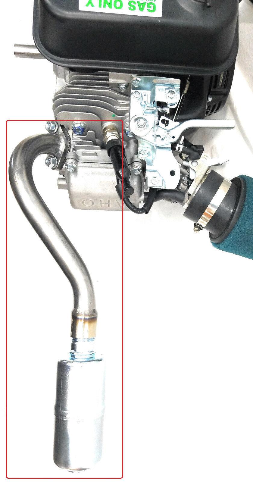 Center Rear Exhaust With Muffler for  Predator 212cc, Honda GX160,GX200,  DuroMa