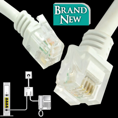 ADSL2 High Speed RJ11 to RJ11 Broadband Modem Internet Router Phone Line Cable