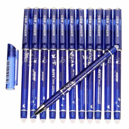6pcs 0.5mm Erasable Pen Blue Gel Ink Pens Set School Kids Students Stationery