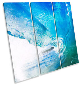 Crashing-Blue-Beach-Wave-CANVAS-WALL-ART-TREBLE-Square-Print-Picture