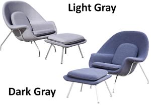 HIGH-END Womb Style Chair & Ottoman Gray, Mid-Century Modern Lounge Saarinen
