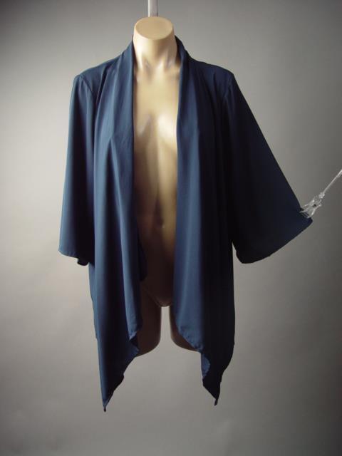 Dark Navy Blue Cascade Drape Shawl Collar Work Blazer Kimono 180 mv Jacket S M L