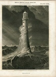 Escocia-Bell-Rock-Light-House-Drawn-And-Engraved-By-Lizars-Over-Large-Of-W